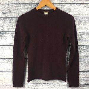 J Crew Cashmere Crew Neck Maroon Sweater